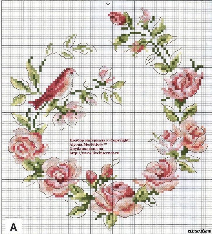 Вышивка розы схема