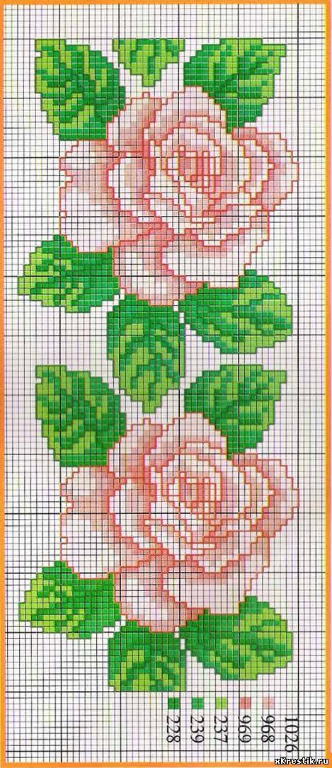 Цветы розового цвета схема вышивка