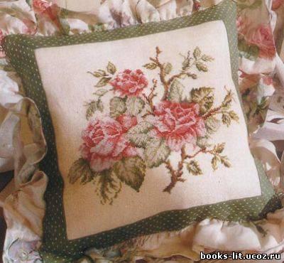 Вышивка крестом подушки роза