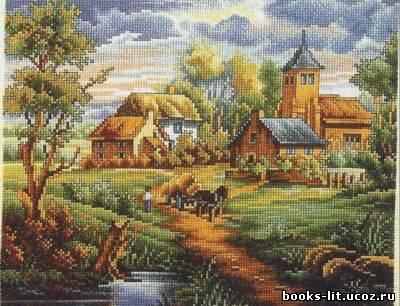 крестом Сельский пейзаж