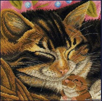 Схема для вышивки крестом кот и мышь