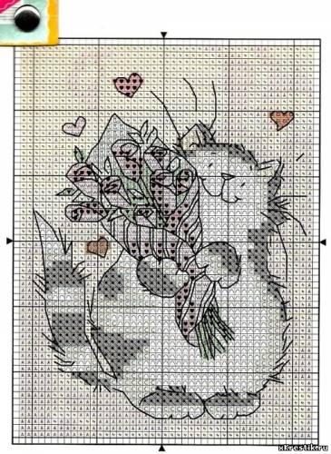 Вышивка крестом коты в цветах схемы