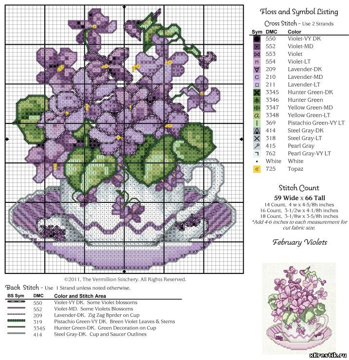 Подробные схемы вышивок цветов крестом