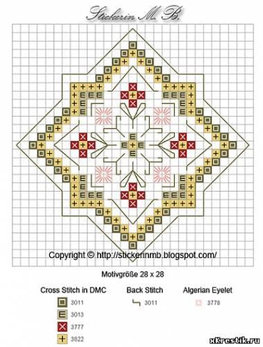Схемы вышивки крестов маячков для ножниц