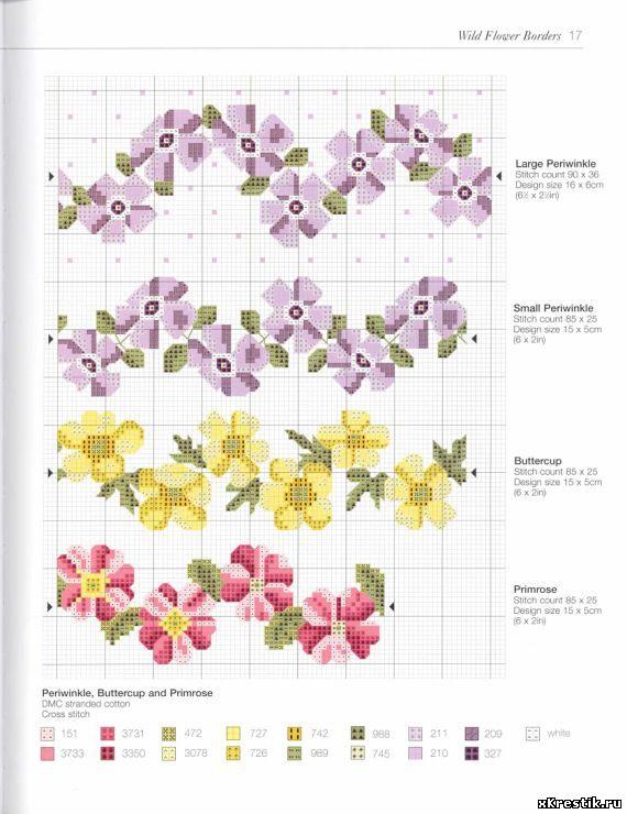 Схема вышивки крестиком цветочки