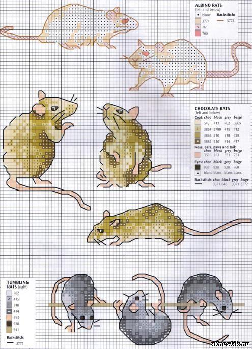 Вышивка крестом крыса схема 89