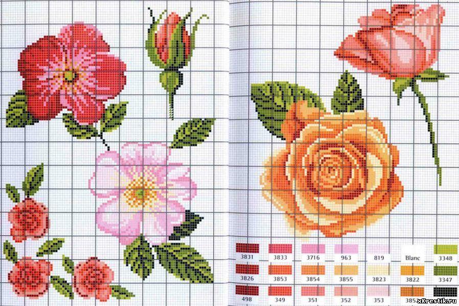 Вышивка крестом роза простая схема 99
