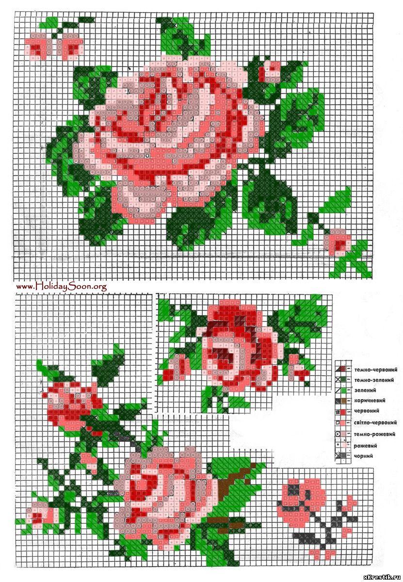 Скачать схему вышивки Романтичные розы бесплатно. .