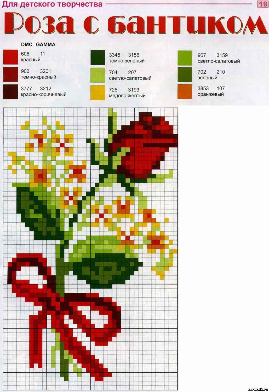 Картинки цветов для вышивки крестом 292