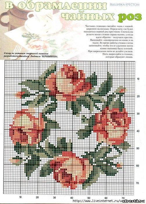 ведущих схема роз и цветов вышивка крестиком подушки такое